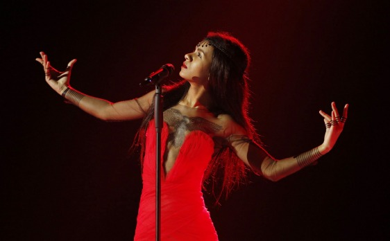 Aminata (Aminata Savadogo) from Latvia performs during the dress rehearsal for the Eurovision Song Contest final on May ...