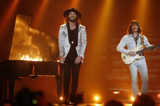 The Band Makemakes from Austria perform during the dress rehearsal for the Eurovision Song Contest final on May 22, 2015 ...