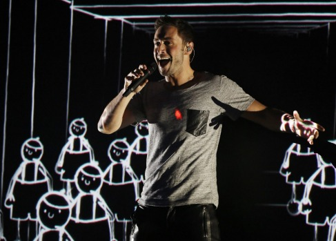 Mans Zelmerlow from Sweden perform during the dress rehearsal for the Eurovision Song Contest final on May 22, 2015 in ...