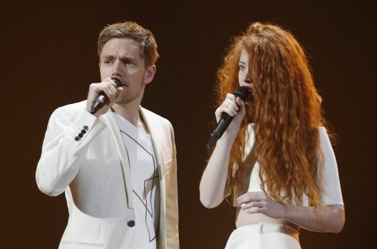 Kjetil Morland and Debrah Scarlett from Norway perform during the dress rehearsal for the Eurovision Song Contest final ...