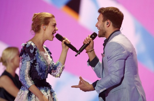 Monika Linkyte und Vaidas Baumila from Lithuania perform during the dress rehearsal for the Eurovision Song Contest ...