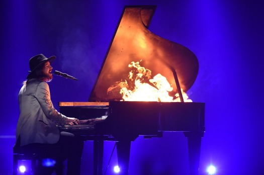 The Makemakes of Austria performs on stage during rehearsals for the final of the Eurovision Song Contest 2015 on May ...