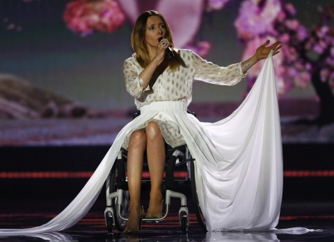 """Singer Monika Kuszynska representing Poland performs the song """"In The Name Of Love"""" during the first dress rehearsal for ..."""