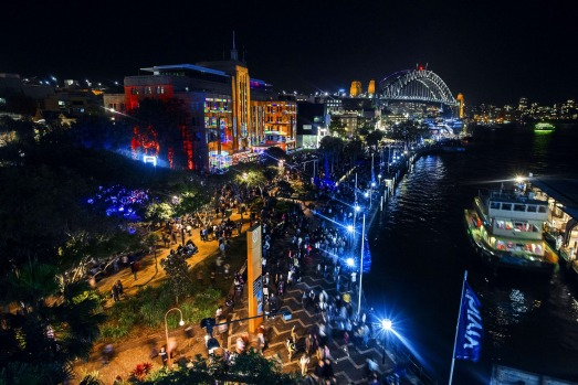 The view of Circular Quay during the VIVID light festival.