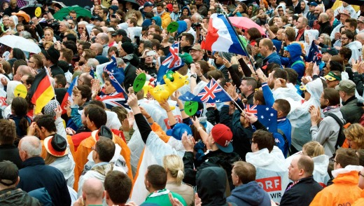 Aussie fans join the crowd at the Eurovillage in Vienna to see Guy Sebastian perform.