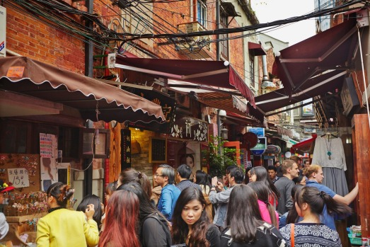 The narrow lanes characterise Tianzifang, the old French Concession Area in Shanghai, which is now a tourist attraction.