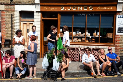 People gather at Columbia Road Flower Market in the East End of London.