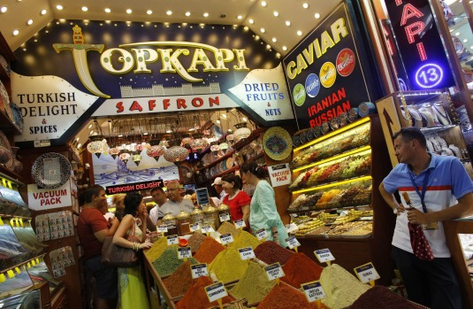 Tourists at a store at the Spice market, also known as the Egyptian Bazaar, in Istanbul.