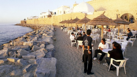 This beautiful Tunisian beach front is almost empty of  tourists, with only domestic ones daring to come.