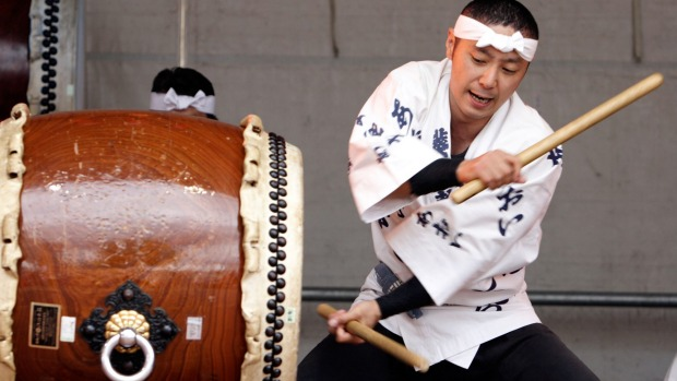 Japanese Taiko Drummer performs at the Hamburg Harbor Festival.