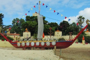 Romance and recycling: A Kangaroo Island castle, complete with longboat.