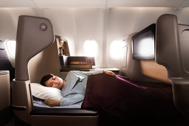 Sleeping in Qantas A330-300 business Class. After emerging from a financial wind-shear of epic proportions, the airline ...