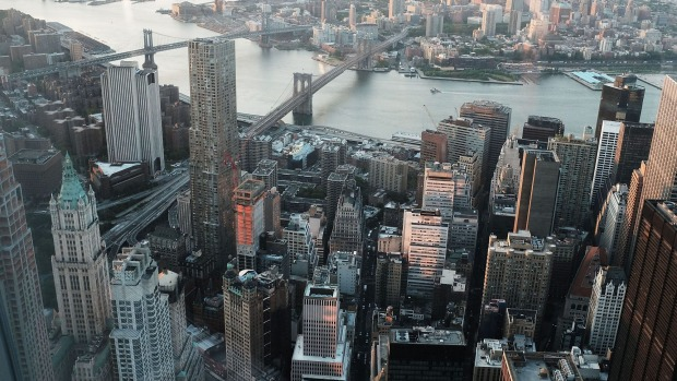 Manhattan and Brooklyn are viewed at dawn from the newly built One World Observatory at One World Trade Center on the ...