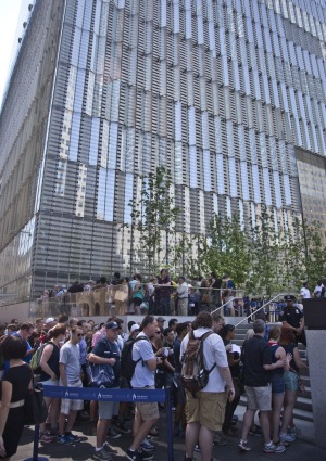 Visitors stand in line to purchase tickets to the One World Observatory after a ribbon-cutting ceremony, Friday, May 29, ...