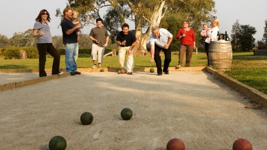 The Dal Zotto family playing bocce.