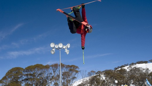 Russell Henshaw takes off at Perisher Terrain Park.