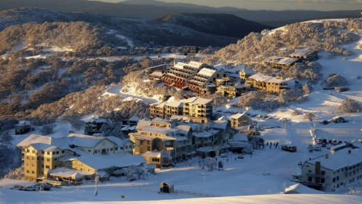 Hotham village is built on the top of a ridge.