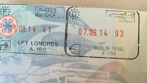 Entering London by train from France will earn you the stamp to the left; Berlin by air to the right.