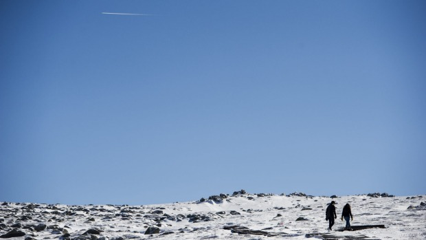 Noni Plews and Marion Murri walking the Kosciuszko track ahead of the snow season opening at Thredbo.