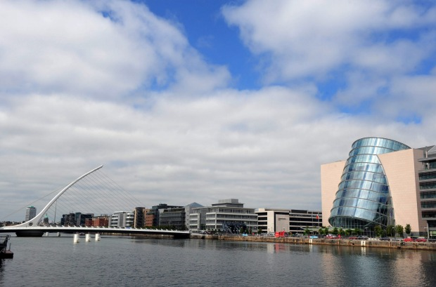 The Convention Centre Dublin, right, sits on the bank on River Liffey in Dublin, Ireland.