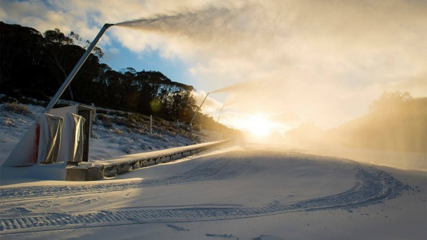 Snow builds on the ski fields at Thredbo.