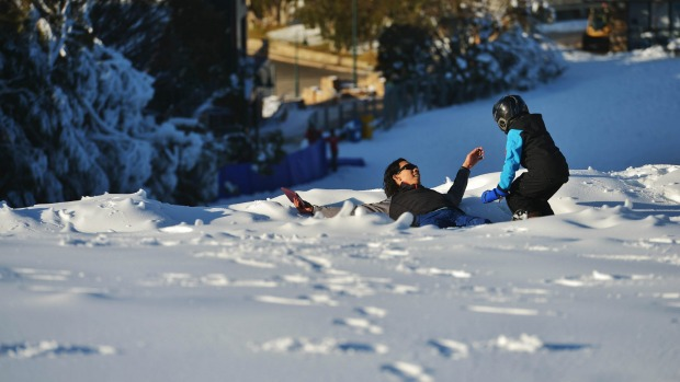 Plenty of man made snow on the Bourke street run at Mt Buller for the opening this weekend.