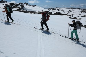 Daisy Dumas, Dave Herring and Adam West of Main Range Back Country, backcountry skiing, Thredbo.