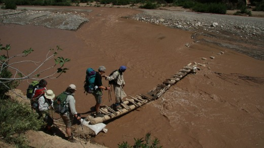 Crossing flooded rivers in the  M'Goun Valley, Morocco, can be hazardous.