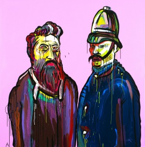 <i>Unforgiven</i> by Adam Cullen (Ned Kelly and Constable Fitzpatrick), 2011.
