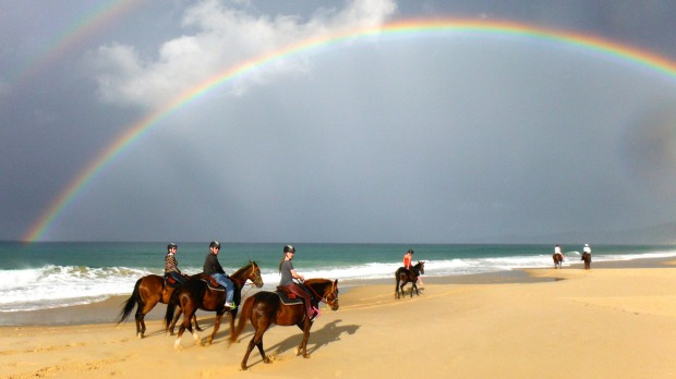 Rainbows over Queensland's Rainbow Beach: No kids in the winter.