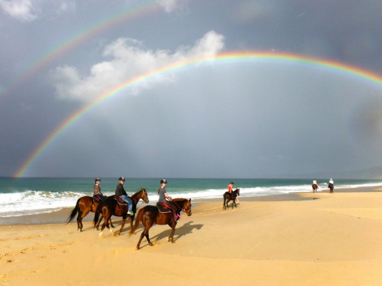 Rainbows over Rainbow Beach, Queensland.