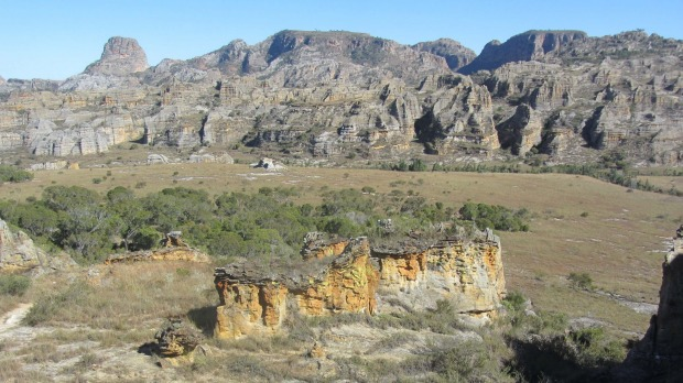The sandstone formations stretch for miles.