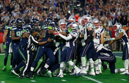 Seattle Seahawks and New England Patriots scuffle in the final moments of  Super Bowl XLIX.