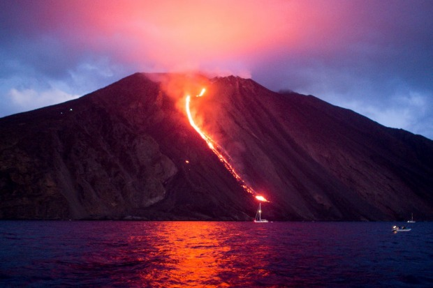 Stromboli, Aeolian Islands, Italy: In a state of grumbling discontent for the past 2000 years, this almighty hunk of ...