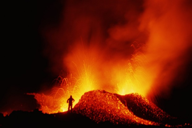 Piton de la Fournaise Reunion, France: The 'Peak of the Furnace', this shield volcano at the south-east corner of this ...