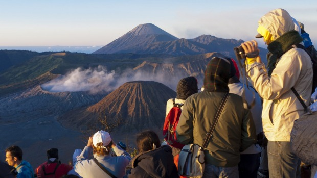 Mount Bromo, Indonesia: One of the volcanic cones that sit within the massive Tengger Caldera in east Java, Mount Bromo ...
