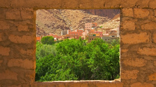 An old casbah in Todra Gorge.