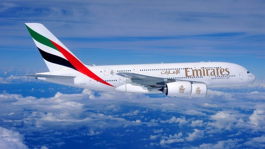 An Emirates A380-800.