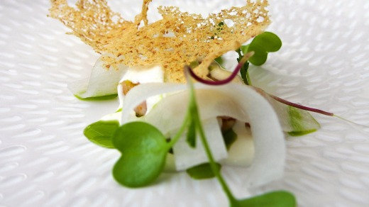 L'Enclume Bay crab, Kohlrabi, radish & rye crouton.   Pictured: Dish from Simon Rogan's L'Enclume restaurant in Cartmel, ...
