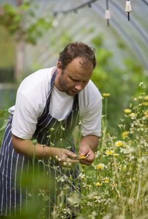 Simon Rogan on his farm in Cartmel, England.