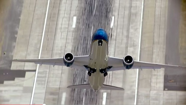 The Boeing Dreamliner performs a near-vertical take off in a demonstration flight.