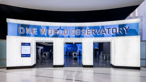 Entrance to the observatory deck at the One World Trade Centere in New York.
