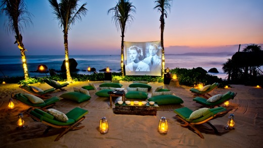 Movie night: An outdoor film screening at Nihiwatu's Nio Beach Club.
