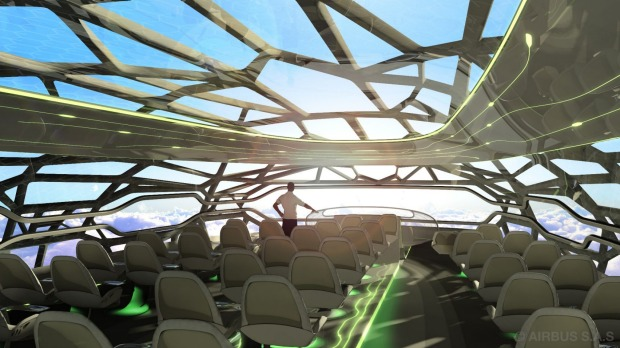 The future by Airbus where an intelligent cabin membrane could become transparent to give passengers open panoramic views.