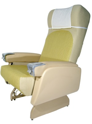 An airline  passenger seat from the 1950s.
