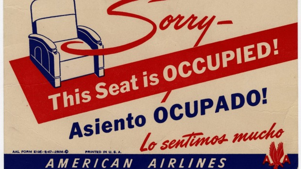 An American Airlines seat occupied card from the  1940s.