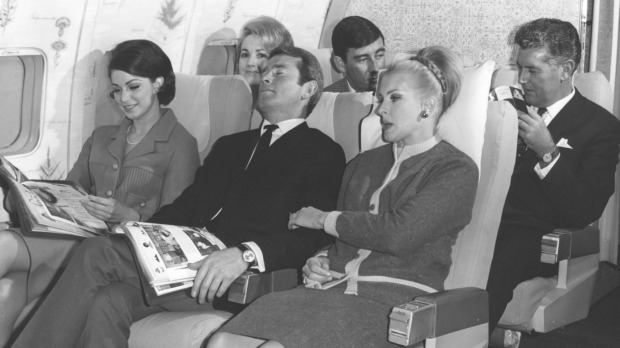 All aboard a Qantas Boeing 707 V-Jet in 1965.