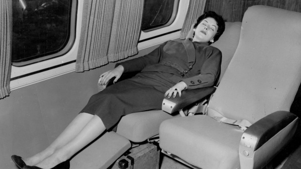 The Qantas Super Constellation featured reclining seats for long-haul comfort in 1954.