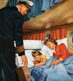 A vintage illustration of a mother and daughter asleep in their reclining seats while the captain checks  they are ...