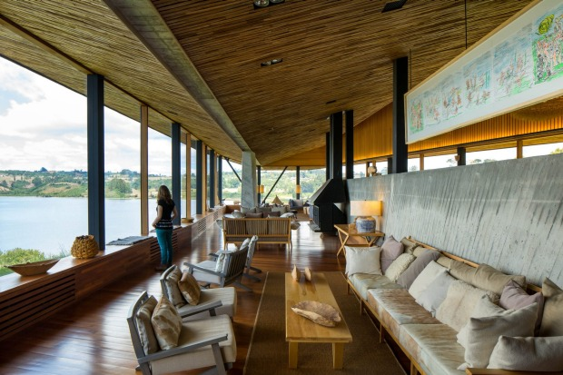 Tierra Chiloe's lounge features panoramic views.